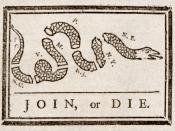 This (attributed to ) originally appeared during the , but was recycled to encourage the American colonies to unite against British rule. From The Pennsylvania gazette, 9 May 1754. Abbreviations used: South Carolina, North Carolina, Virginia, Maryland, Pe