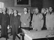 From left to right (front): Chamberlain, Daladier, Hitler, Mussolini, and Ciano pictured before signing the Munich Agreement.