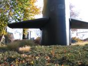 English: Sail of the USS George Washington (SSBN 598) on display outside the Submarine Force Library and Museum, Groton, CT.