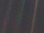 Seen from 6 billion kilometres (3.7 billion miles), Earth appears as a