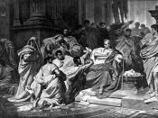 Cimber (centre) holds out the petition and pulls at Caesar's tunic, while Casca behind prepares to strike: painting by Karl von Piloty.
