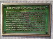 Commemorative plaque in Washington, D.C. marking the site at 601 Pennsylvania Avenue where