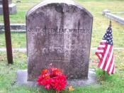 English: Grave of American poet John Greenleaf Whittier in the Union Cemetery, Amesbury, MA.