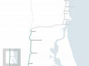 Map of the Maroochydore railway line, Queensland.