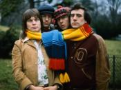 Monty Python members Terry Gilliam, Eric Idle, Terry Jones, with Neil Innes, in the 1970s
