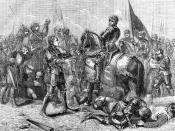 English: Battle of Bosworth Field. Lord Stanley Bringing the Crown of Richard to Richmond.