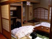 A typical Japanese room (washitsu) at the Koyasan Youth Hostel, Japan.