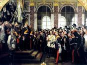 Foundation of the German Empire in Versailles, 1871. Bismarck is at the centre in a white uniform.