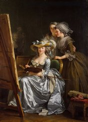 Self-portrait with Two Pupils: Mademoiselle Marie Gabrielle Capet and Mademoiselle Carreaux de Rosemond