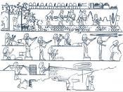 English: Ancient Egyptian artwork depicting the manufactur of rope by mechanical means. Español: Ilustración del Antiguo Egipto que representa la fabricación en serie.