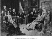 Richard Wagner at Bayreuth. Liszt, who was also his father-in-law, can be seen at the piano.
