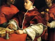 Pope Leo X (center) with his cardinal-nephew Giulio de'Medici (left, future Pope Clement VII)
