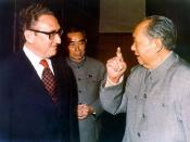 Henry Kissinger and Chairman Mao, with Zhou Enlai behind them in Beijing, early 70s.