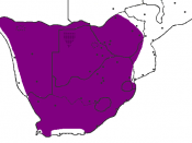 Range of the aardwolf (Proteles cristatus) in Southern Africa.