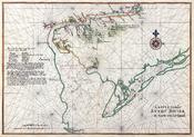 Nautical chart of the Dutch colony Zwaanendael and Godyn's Bay (Delaware Bay), 1639