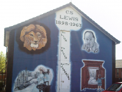 English: Mural depicting C.S. Lewis and images associated with his work (Aslan, Jadis, Lucy opening the wardrobe), Ballymacarrett Road, east Belfast, Northern Ireland. Lewis spent much of his childhood in northern Ireland.