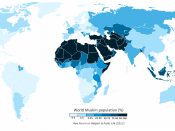 English: The Muslim population of the world map by percentage of each country, according to the Pew Forum 2009 report on world Muslim populations.
