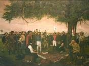 """English: """"Surrender of Santa Anna"""" by William Huddle (1847–92), 1886 The painting"""