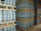 Pallets of 155 mm artillery shells containing
