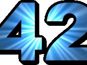 English: 42, The Answer to the Ultimate Question of Life according to The Hitchhiker's Guide to the Galaxy. Русский: 42, Ответ на главный вопрос жизни в произведении Автостопом по галактике. Deutsch: 42, die Antwort auf die große Frage nach dem Leben, dem