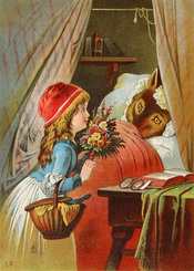 English: Little Red Riding Hood, illustration by Carl Offterdinger Deutsch: Rotkäppchen, Illustration von Carl Offterdinger