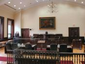 English: Interior photo of a courtroom in Brockville, Ontario