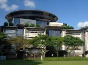 English: The Supreme Court Building in , designed by . The disc at the top of the building houses the courtroom of the Court of Appeal, Singapore's final appellate court.