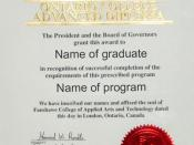 A sample diploma from Fanshawe College in London, Ontario