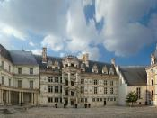 Château de Blois, Loir-et-Cher, Centre, France. Panorama of the interior façades. From right to left: the Louis XII flamboyant wing, the medieval Gothic castle, the François I Renaissance wing, and the Gaston d'Orléans classic wing.