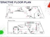 The floor plan for the Rube Goldberg machine used in the video covered two floors of a warehouse and had several distinct stations that worked in time with the music.