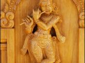 Wood carving detail of the Hindu temple of Greater Chicago, depicting god Krishna