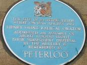 Author: Allan K Preston Picture: A blue plaque on the wall of the Free Trade Hall, commemorating tle Peterloo Massacre on 16 August 1819 in Manchester, UK