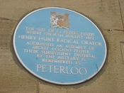Blue plaque for the Peterloo Massacre.