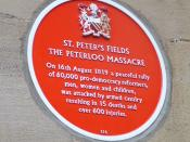 Plaque commemorating the Peterloo Massacre of 16 August 1819. Sited on the wall of what was the Free Trade Hall, now the Radisson Hotel, in Peter Street, Manchester, England.