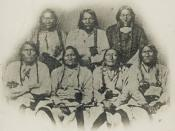 English: A delegation of Cheyenne, Kiowa, and Arapaho chiefs in Denver, Colorado in September 28, 1864. Black Kettle 2nd from left front row. A delegation of Cheyenne, Kiowa, and Arapaho Chiefs in Denver, Colorado in September 28, 1864. Français : Une dél