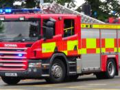 English: A fire engine of the Cambridgeshire Fire & Rescue Service, in Cambridge, England