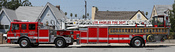English: A Los Angeles Fire Department (LAFD) ladder truck - no. 27. Vehicle is a 'tractor drawn aerial' with separate rear wheel steering. A two image stitch Русский: Пожарная машина №27 лос-анджелесского Пожарного Департамента.