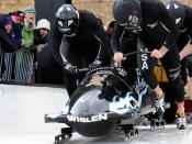Army National Guard Outstanding Athlete Program bobsled team at start of U.S. World Cup Team Trials
