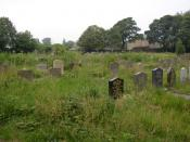 English: The New Graveyard, Heptonstall. This is in land given in 1911, enabling the churchyard, which is very full, to be closed to new burials in 1915. In this photo there is the grave of Sylvia Plath Hughes, the wife of the local poet Ted Hughes. She c