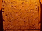 English: This is an important stela which dates to the period between the coregency of Hatshepsut and her stepson / possible son-in law (and successor) Thutmose III from the early 18th dynasty of Egypt. It depicts Hatshepsut (the female king on the centre