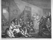 English: The Interior of Bedlam (Bethlem Royal Hospital), from A Rake's Progress by William Hogarth, 1763.