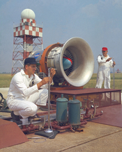 English: Noise Research Program on hangar apron at Lewis Research Center, now known as John H. Glenn Research Center, Cleveland, Ohio. Noise from aircraft engines presents problems for wildlife and people and NASA has undertaken various programs to reduce