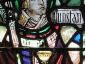 English: Monastic Chapel 1920, Holy Cross Monastery, West Park, New York. This is the Christian saint Dunstan in stained glass form. He was born in Somerset.