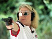 English: Elizabeth Callahan competes in her fourth Olympics in the women's 25-meter sport pistol event during the 2008 Olympic Games in Beijing, China, on August 13th, 2008.