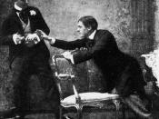 English: Still photograph from Act 1 of the original production of The Importance of Being Earnest (1895). It shows Algernon Moncrieff (left, played by Allan Aynesworth) refusing to return Mr Jack Worthing's (Sir George Alexander) cigarette case until the