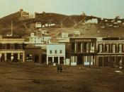 Portsmouth Square, San Francisco, California. Early daguerrotype. Signs in image include: California Restaurant, Book and Job Printing, Louisiana, Sociedad, Drugs & Medicines Wholesale & Retail, Henry Johnson & Co, Alta California, Bella Union, A. Holmes.