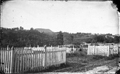 English: Symonds Street Cemetery, showing Mt Eden in the background, photographed in 1863 by Daniel Manders Beere.