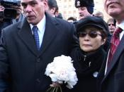 Yoko Ono delivers flowers to John Lennon's memorial, Stawberry Fields, Central Park, NYC. Captured by Rocketboom.