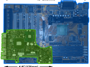 English: A comparison of a desktop computer motherboard (Abit BX6, ATX) with a laptop motherboard (2008 Unibody Macbook 13