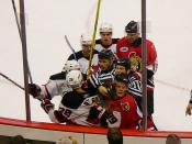 Ice hockey match between New Jersey Devils and Ottawa Senators, January 6, 2007. Visible is Brian Rafalski (bottom left) and Mike Comrie (bottom right) fighting.